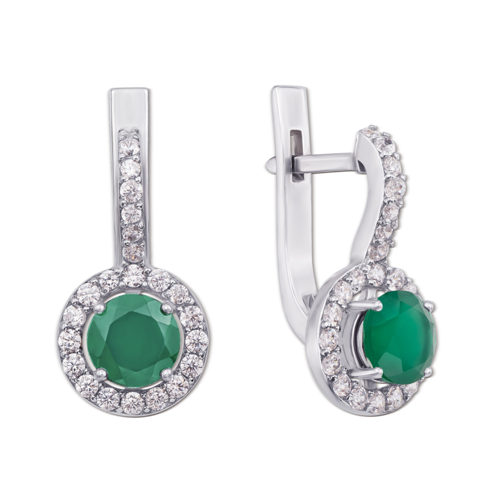Срібні сережки з зеленим агатом і фіанітами. Артикул 2055/9р