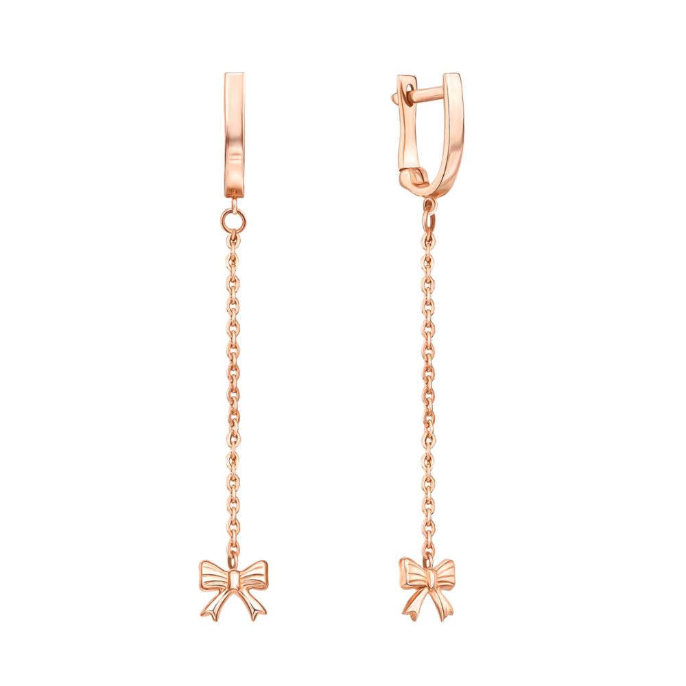 Золоті сережки-підвіски «Бантики» без вставки. Артикул 02950/01/0