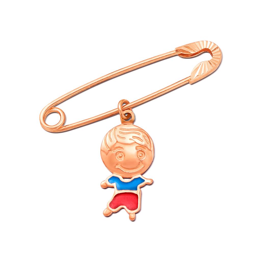 Золотая брошь-булавка с подвеской «Мальчик». Артикул 04030/м
