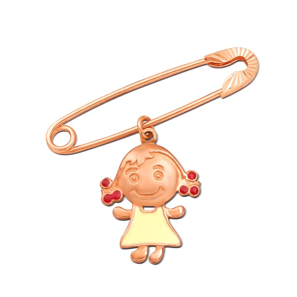 Золота брошка-булавка з підвіскою «Дівчинка». Артикул 04030/д
