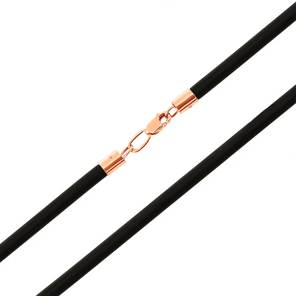 Ювелирный шнурок из каучука с золотым замком. Артикул 06100/1