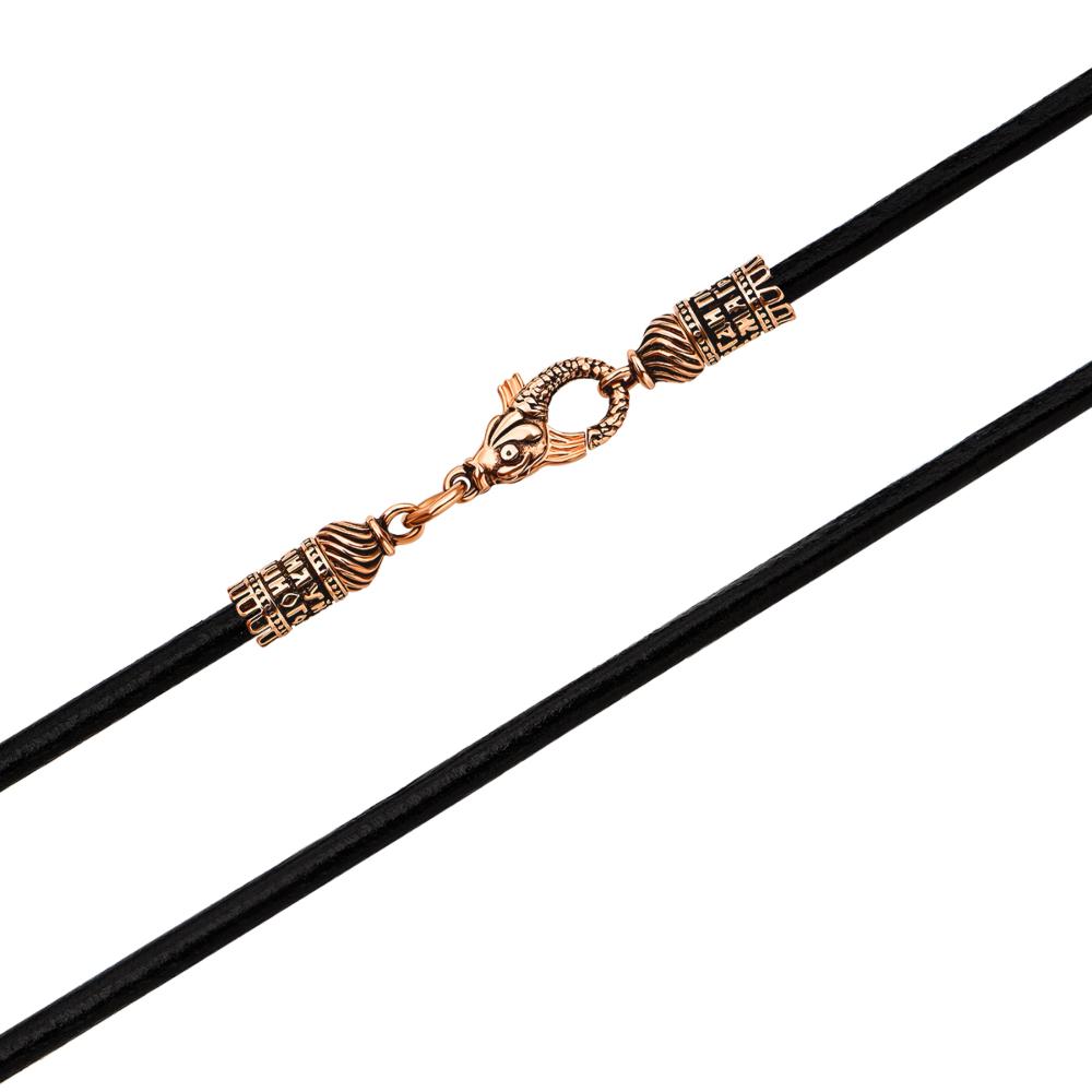 Ювелірний шнурок з натуральної шкіри з золотими вставками. Артикул 06111/130ч-нч