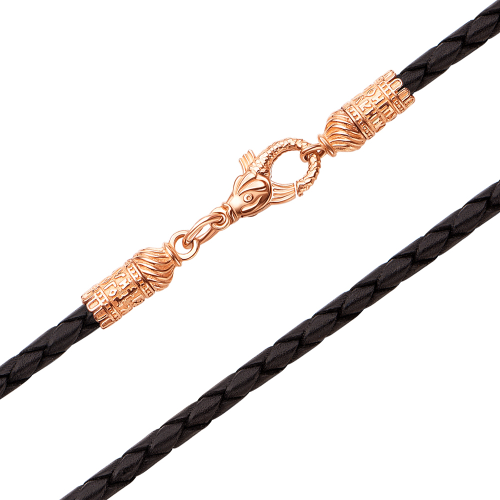 Ювелирный шнурок из натуральной кожи с золотыми вставками. Артикул 06121н ч