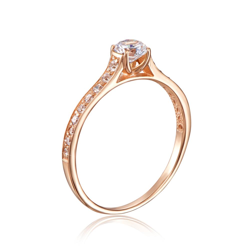 Золотое кольцо с фианитами. Артикул 12181