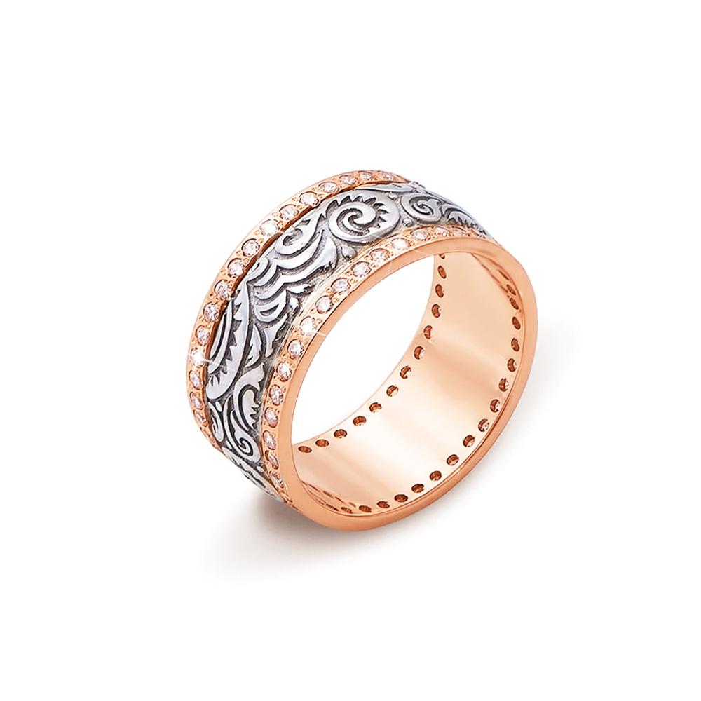 Обручальное кольцо с фианитами. Артикул 10126/2