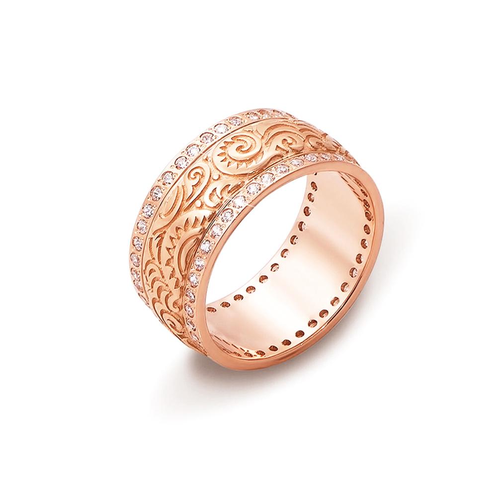 Обручальное кольцо с фианитами. Артикул 10126
