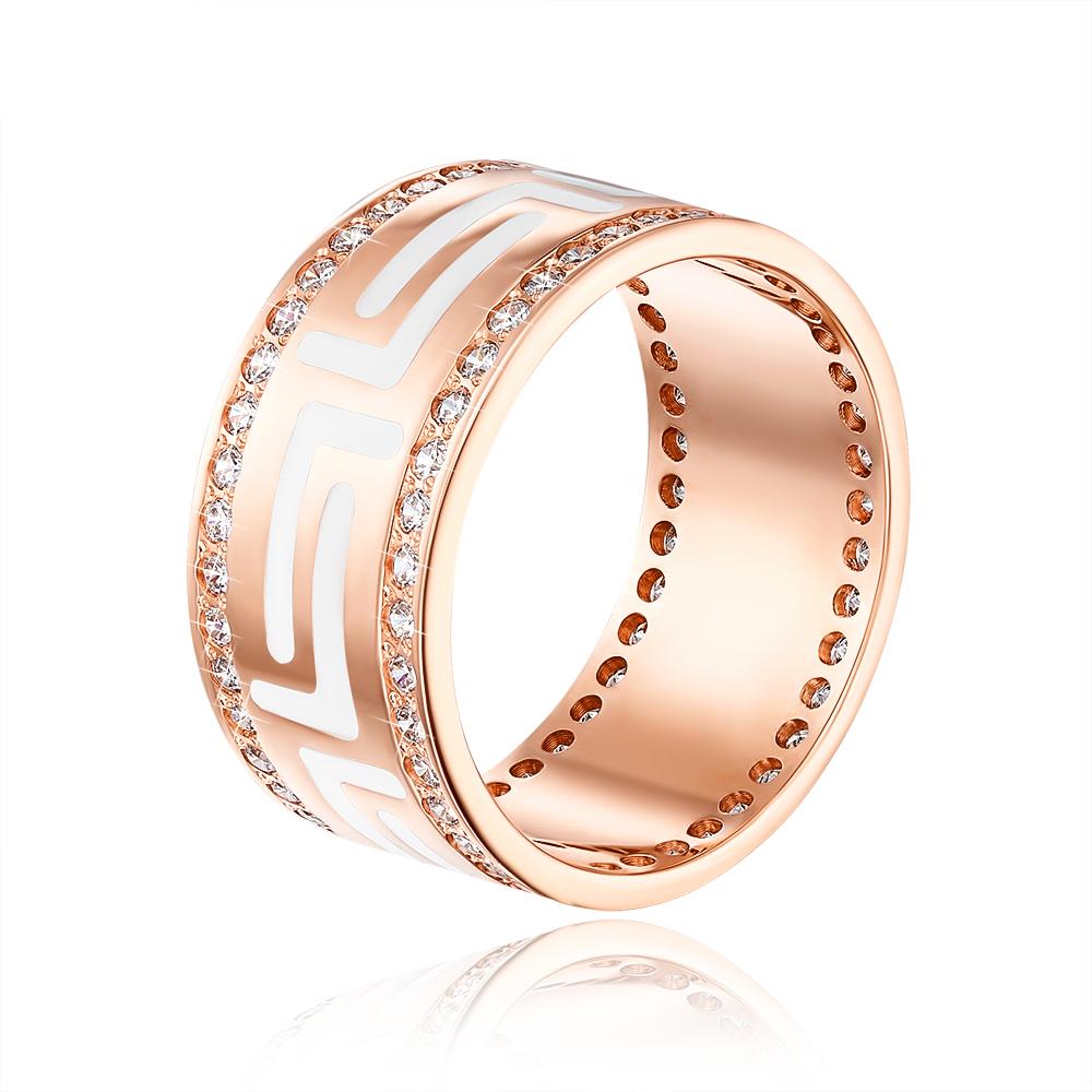 Обручальное кольцо с эмалью и фианитами. Артикул 10145