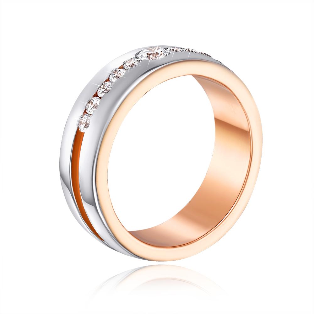 Обручальное кольцо с фианитами. Артикул 10147/1