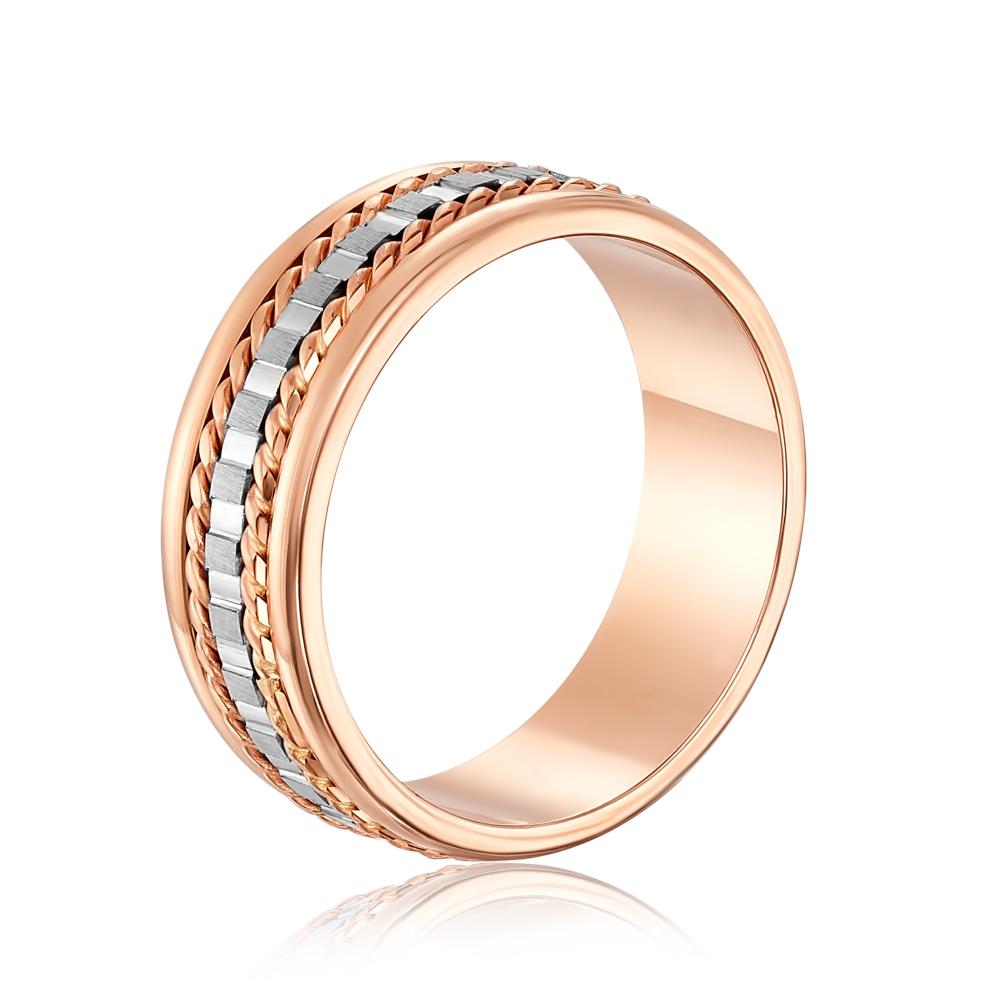 Обручальное кольцо комбинированное с алмазной гранью. Артикул 1040