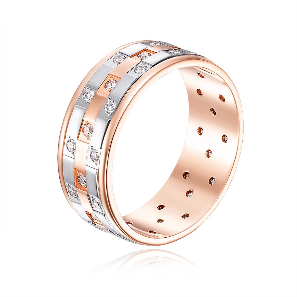 Обручальное кольцо комбинированное с фианитами. Артикул 1057