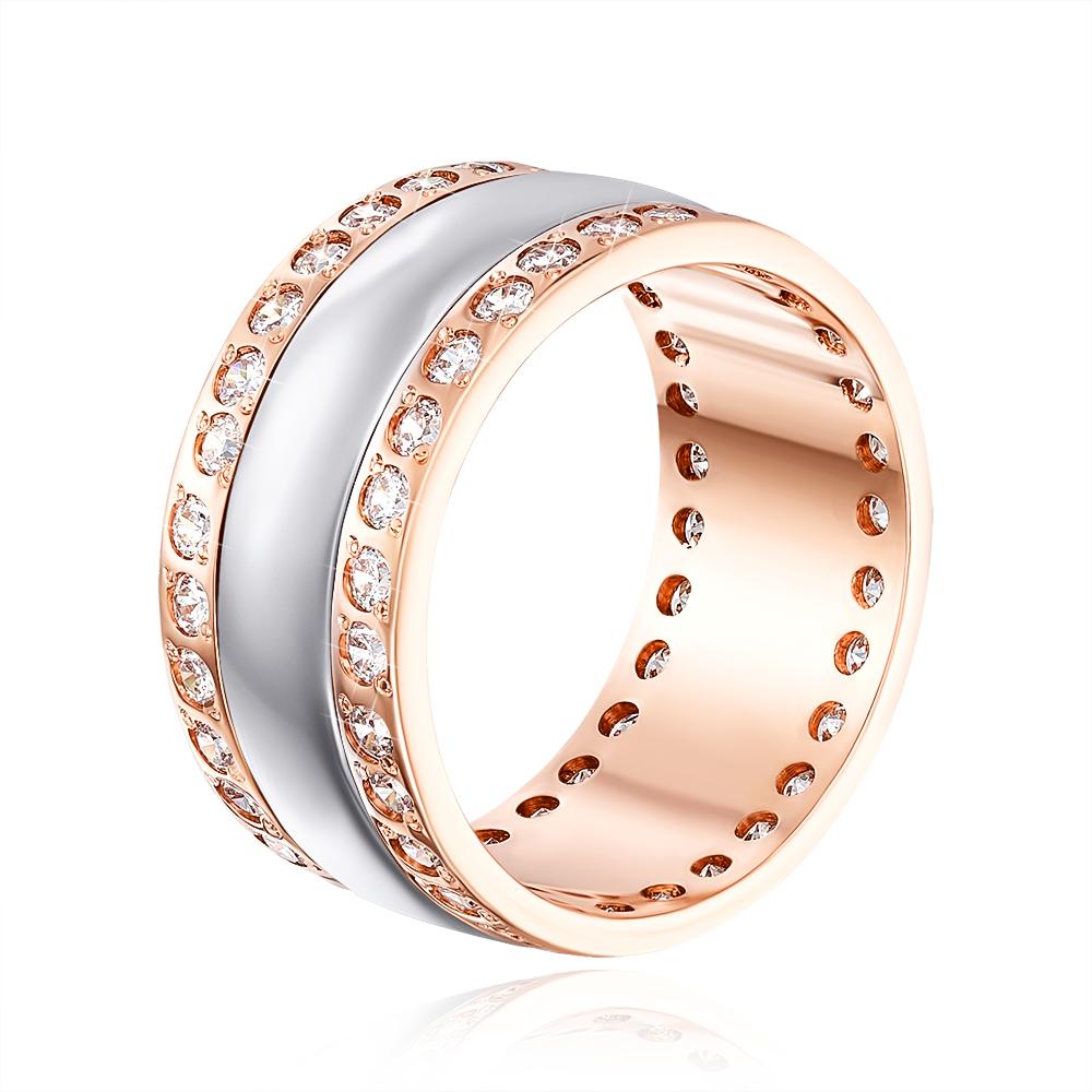 Обручальное кольцо комбинированное с фианитами. Артикул 1060