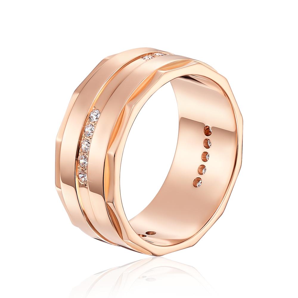Обручальное кольцо с фианитами. Артикул 1064