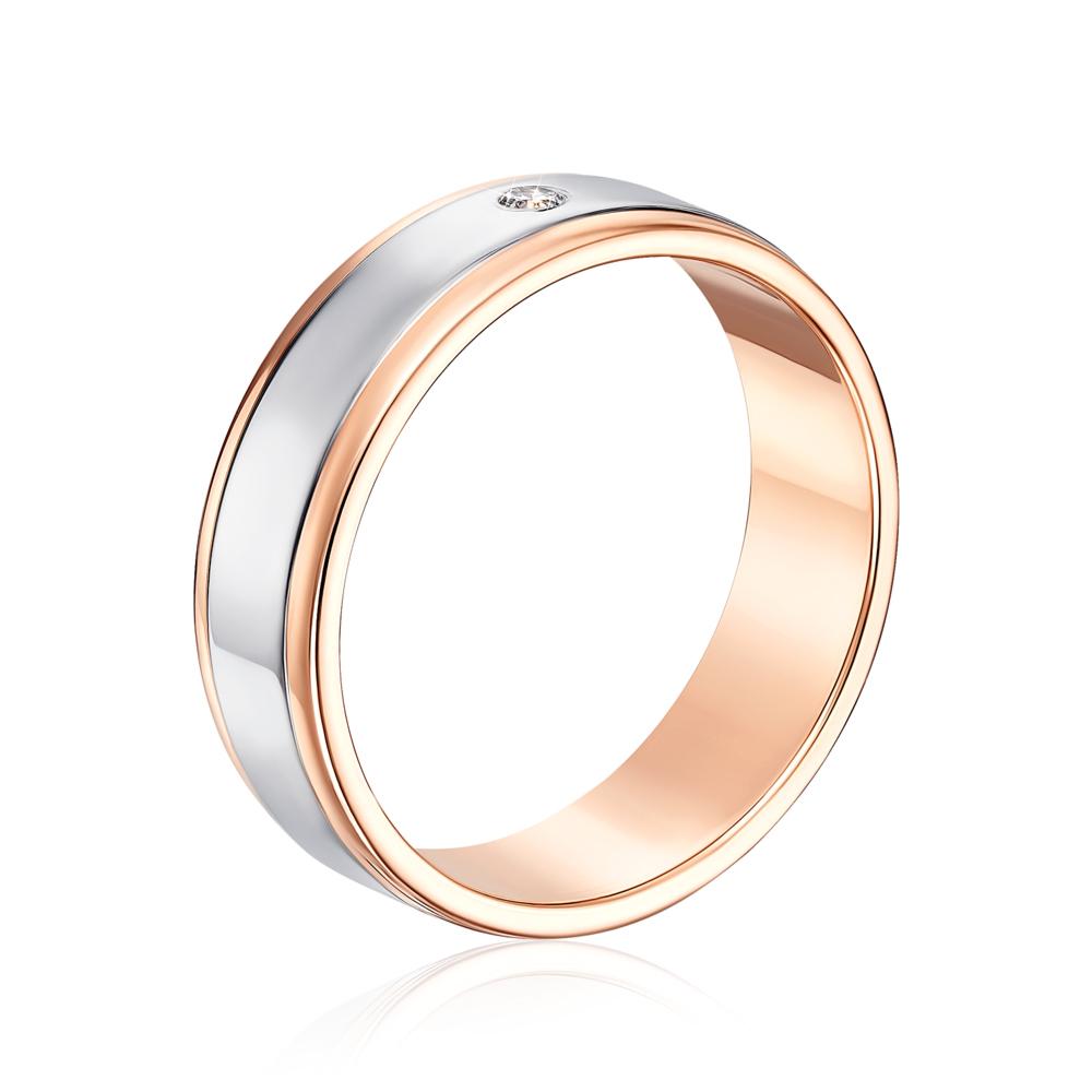 Обручальное кольцо комбинированное с бриллиантом. Артикул 1065/2
