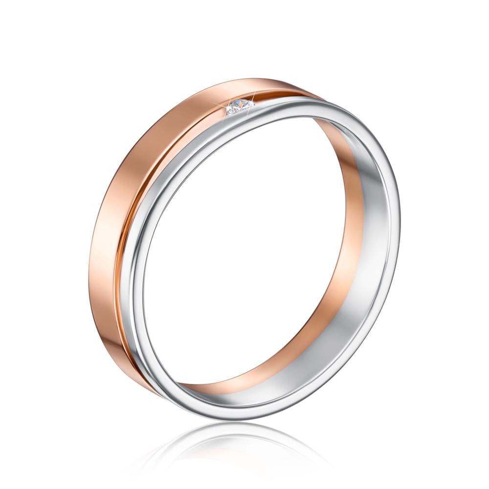 Обручальное кольцо комбинированное с фианитом. Артикул 1077