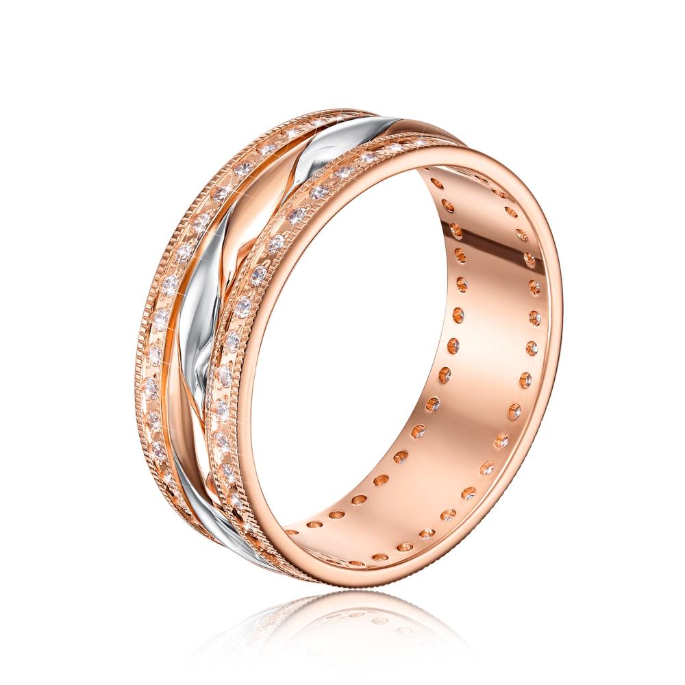 Обручальное кольцо с фианитами. Артикул 1079