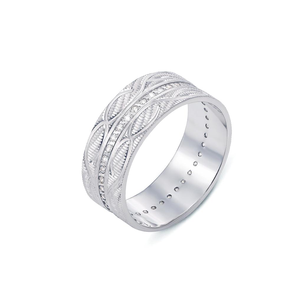 Обручальное кольцо с фианитами. Артикул 1091б