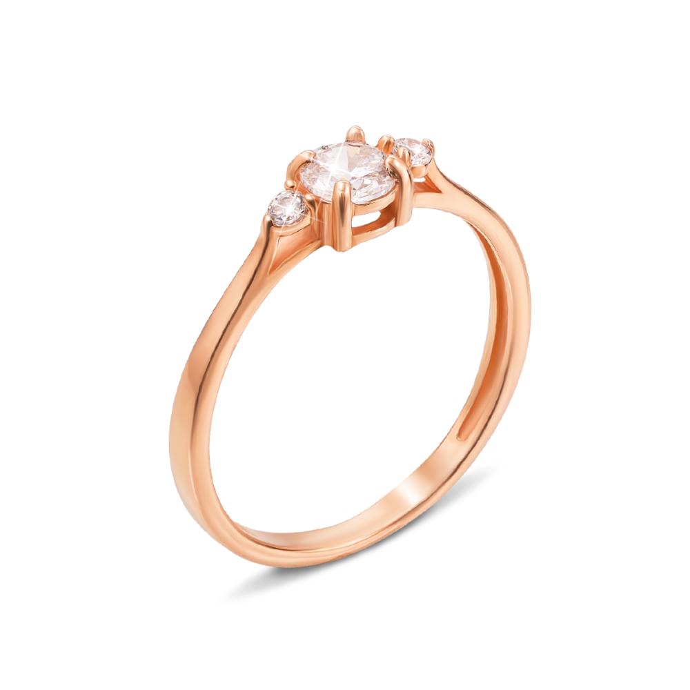 Золотое кольцо с фианитами. Артикул 11904