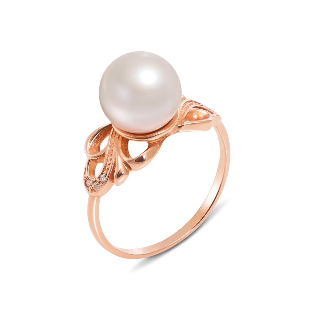 Золотое кольцо с жемчужиной и фианитами. Артикул 11910 с