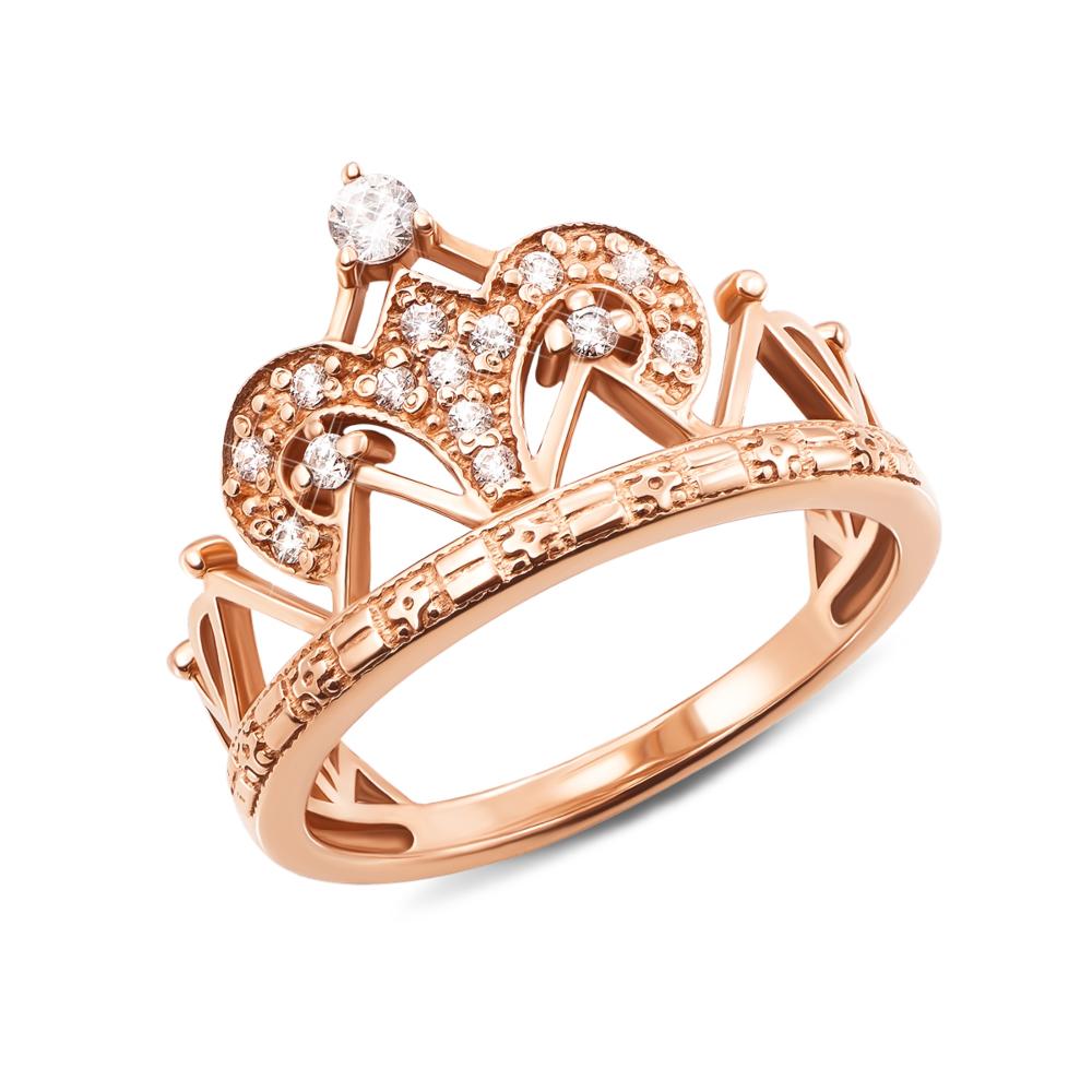 Золотое кольцо «Корона» с фианитами. Артикул 11949