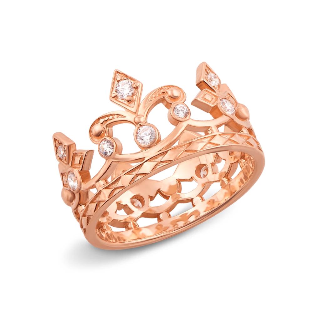 Золотое кольцо «Корона» с фианитами. Артикул 11954