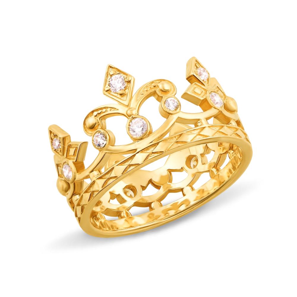 Золотое кольцо «Корона» с фианитами. Артикул 11954/eu
