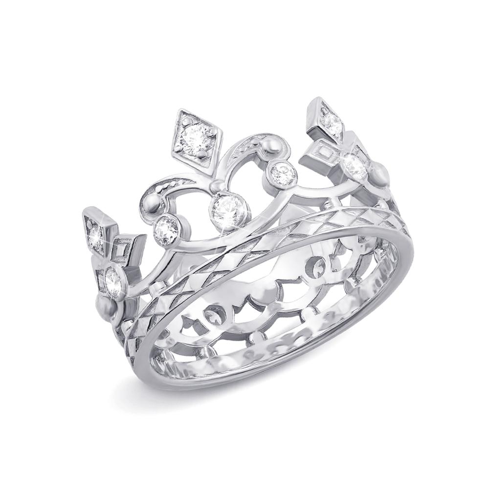 Золотое кольцо «Корона» с фианитами. Артикул 11954б