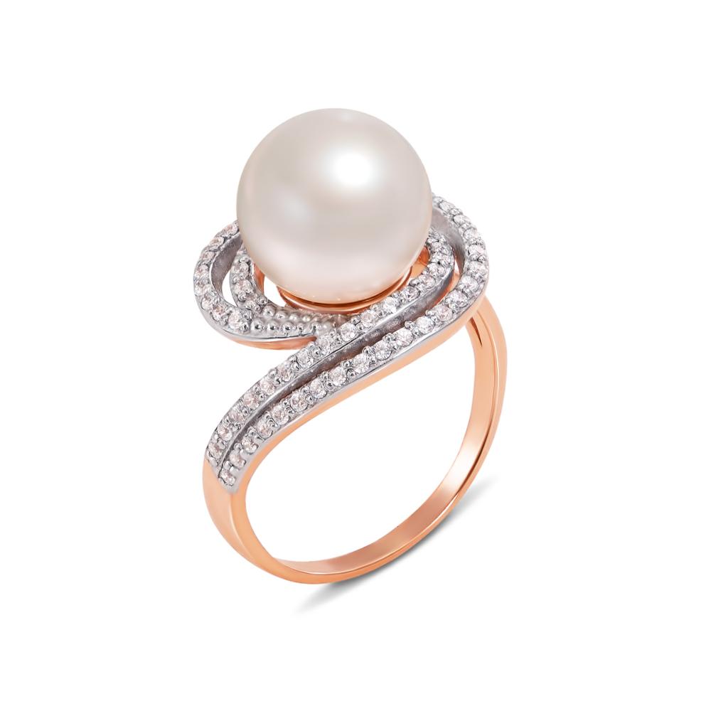 Золотое кольцо с жемчужиной и фианитами. Артикул 11988 с
