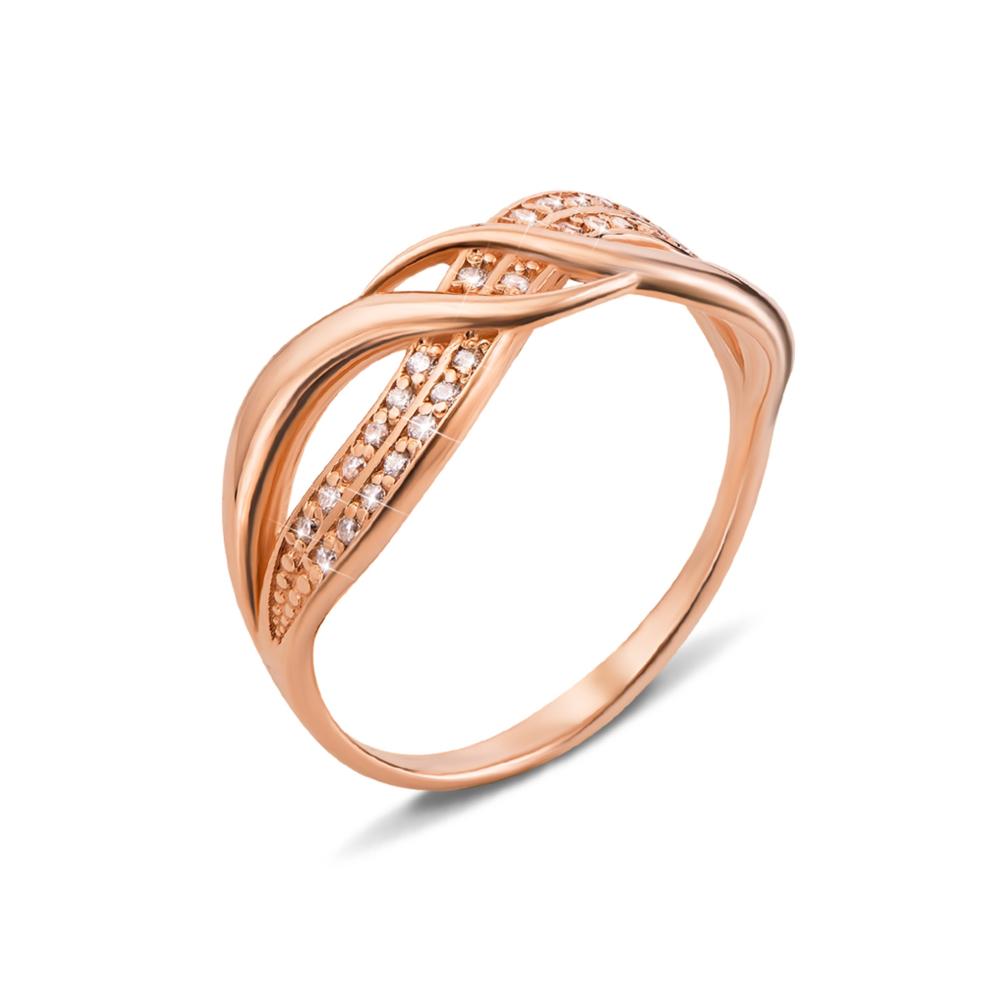 Золотое кольцо с фианитами. Артикул 11996