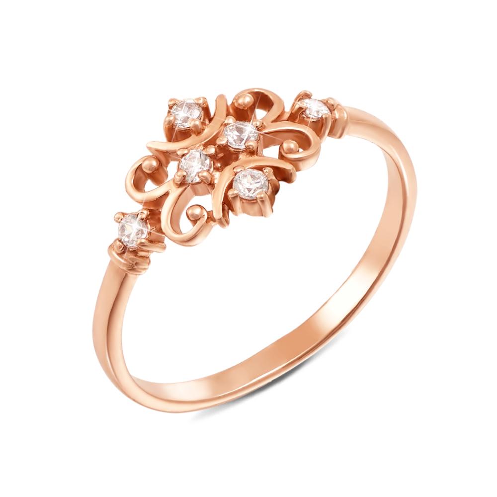 Золотое кольцо с фианитами. Артикул 12007 с