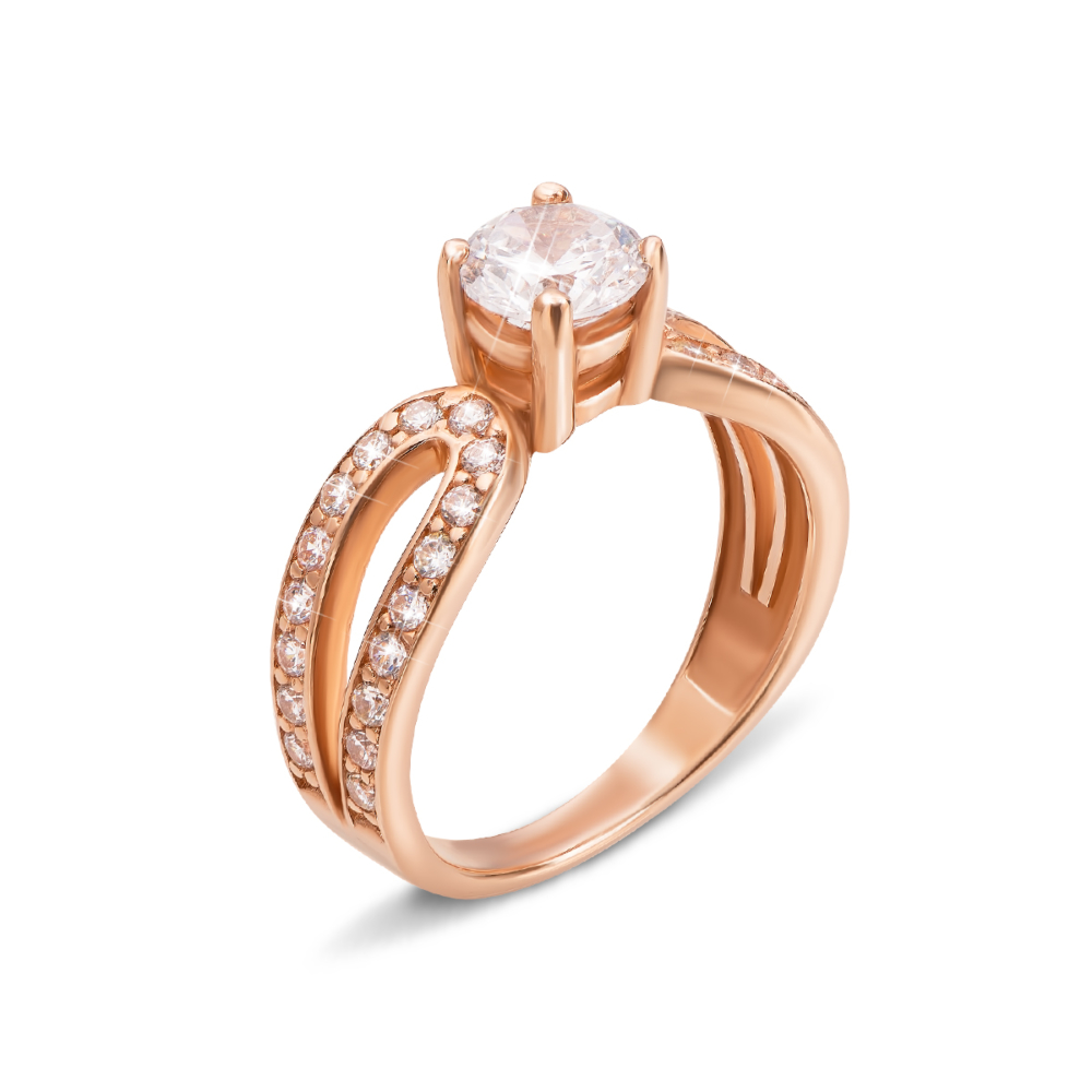 Золотое кольцо с фианитами. Артикул 12011 с