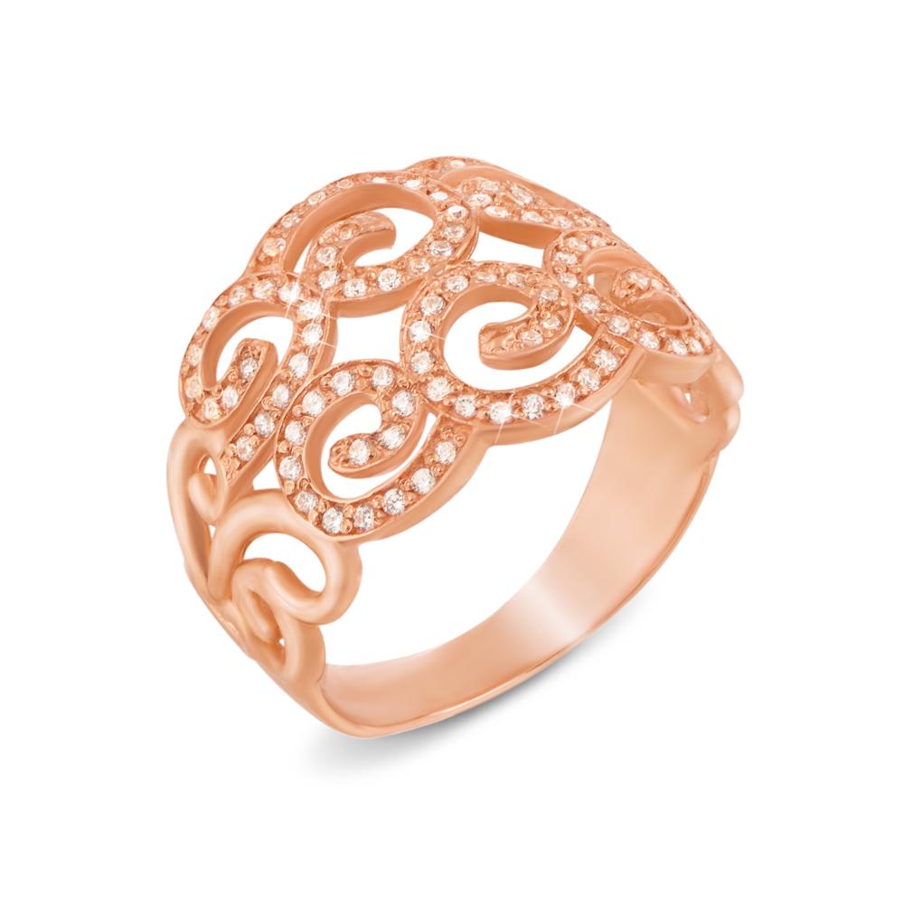 Золотое кольцо с фианитами. Артикул 12020