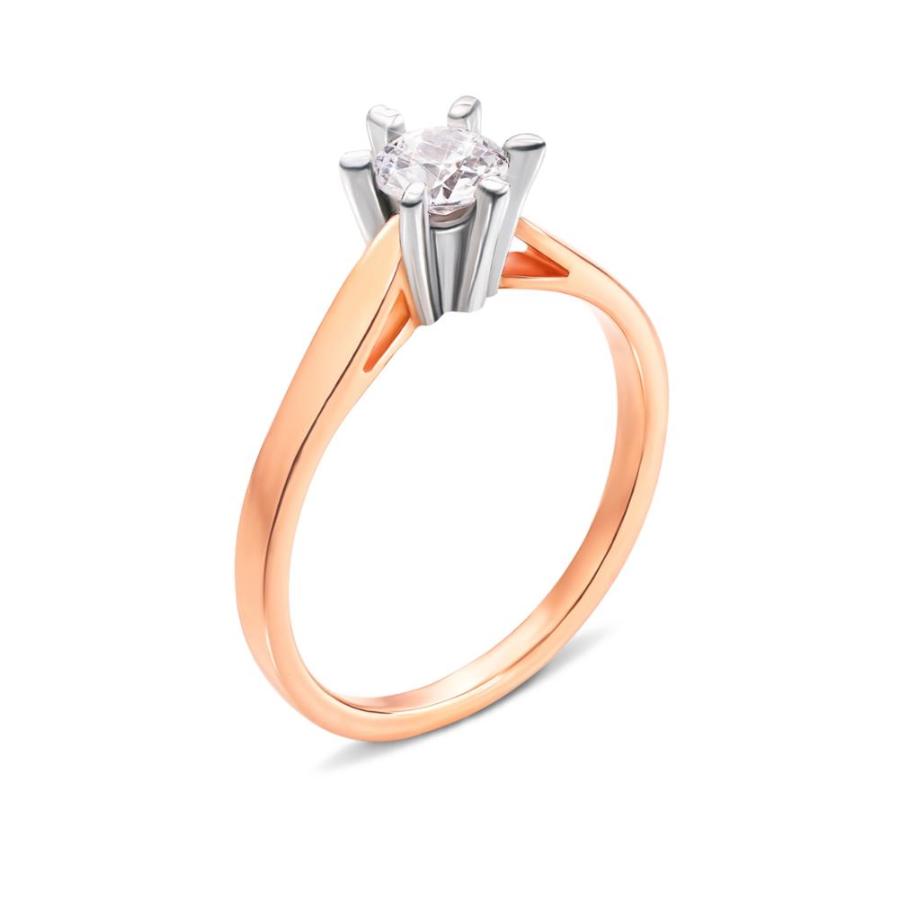Золотое кольцо с фианитом. Артикул 12036/08/1/100