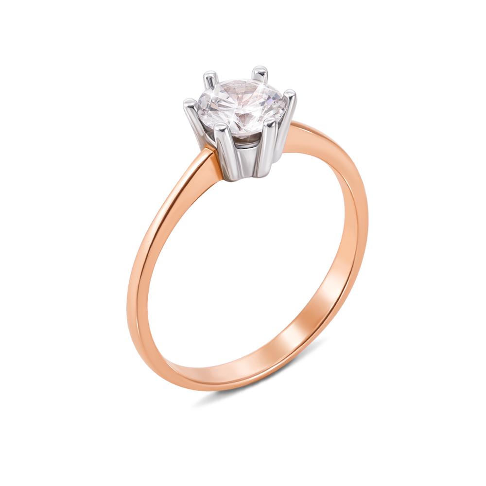 Золотое кольцо с фианитом. Артикул 12040 с