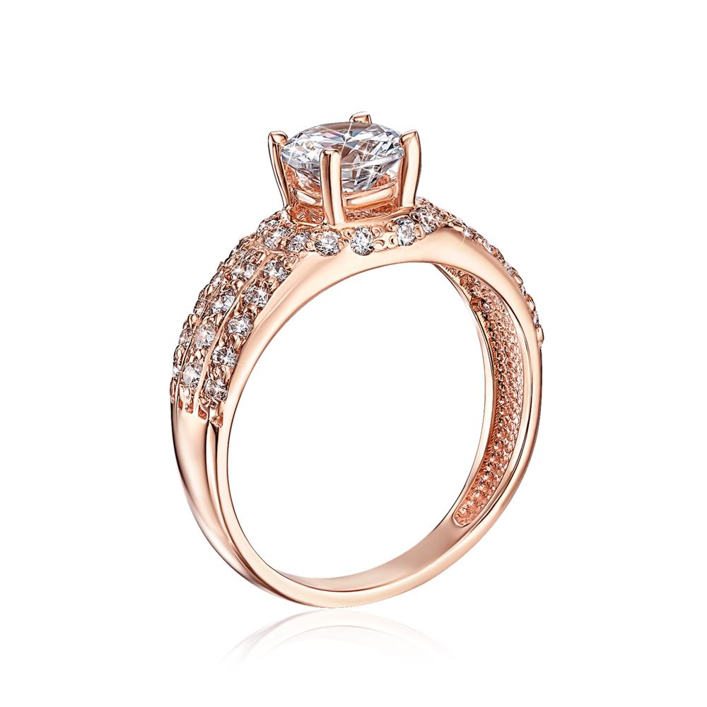 Золотое кольцо с фианитами. Артикул 12044