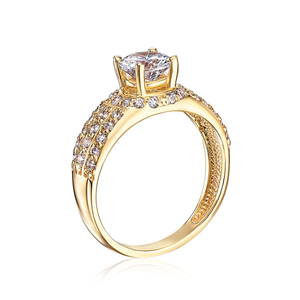 Золотое кольцо с фианитами. Артикул 12044/eu