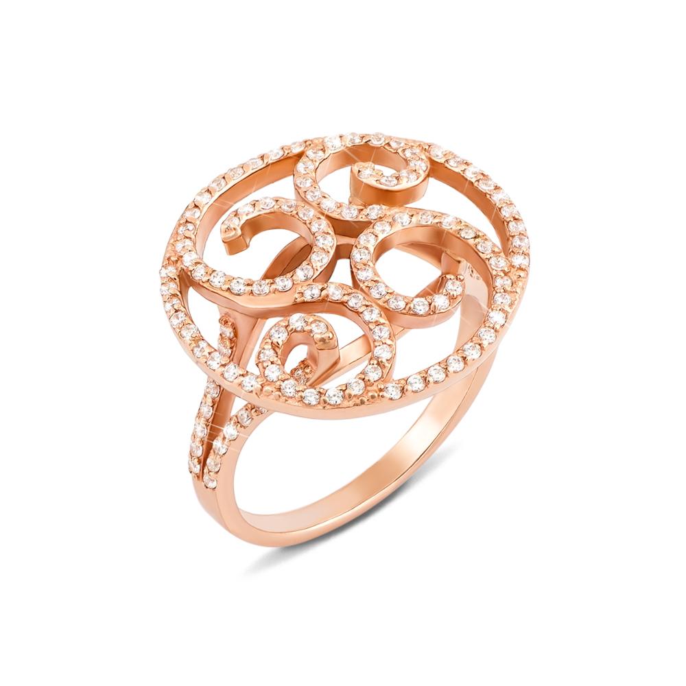 Золотое кольцо с фианитами. Артикул 12045 сп
