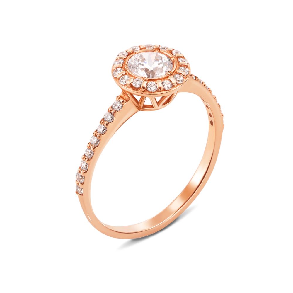 Золотое кольцо с фианитами. Артикул 12070