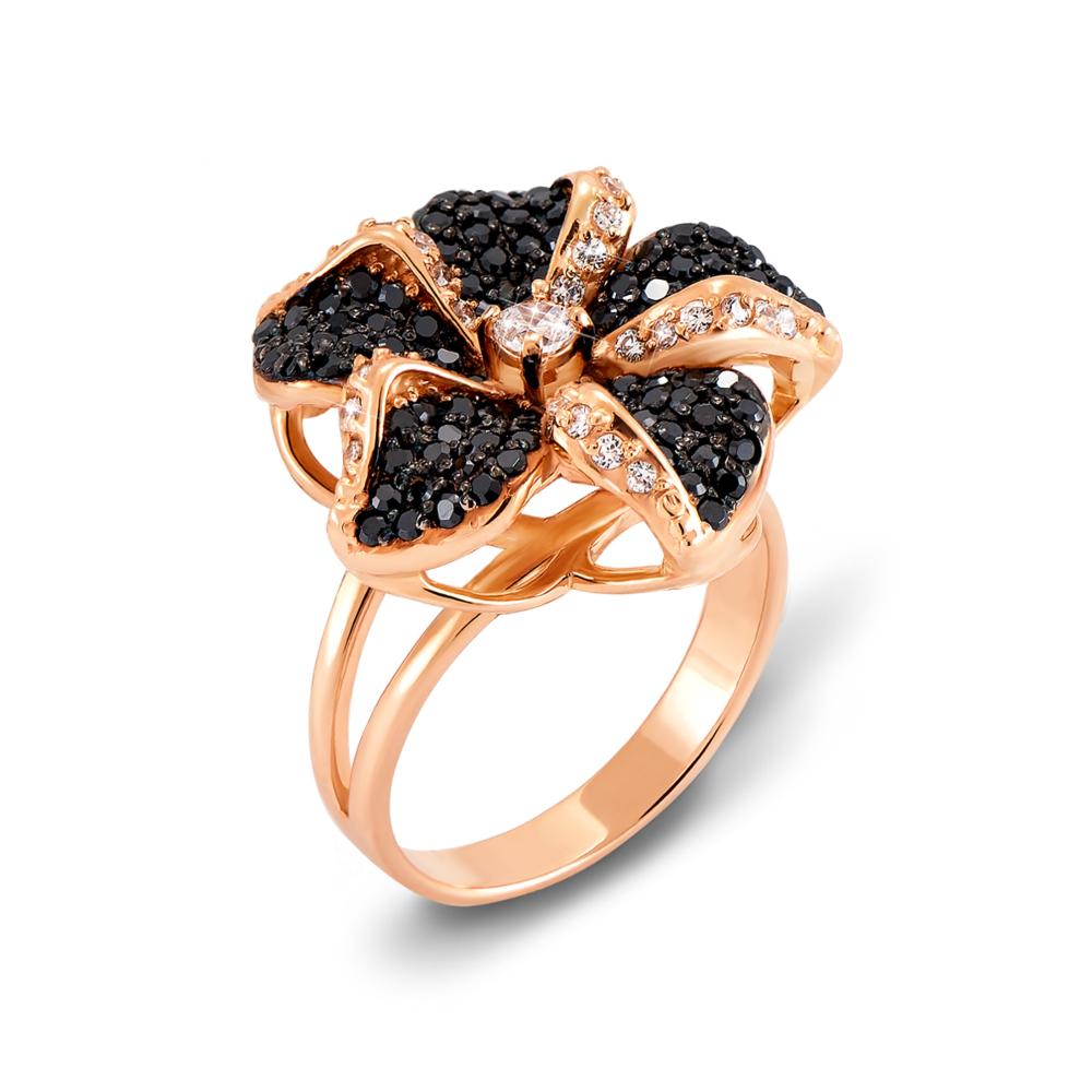 Золотое кольцо с фианитами. Артикул 12088/ч с