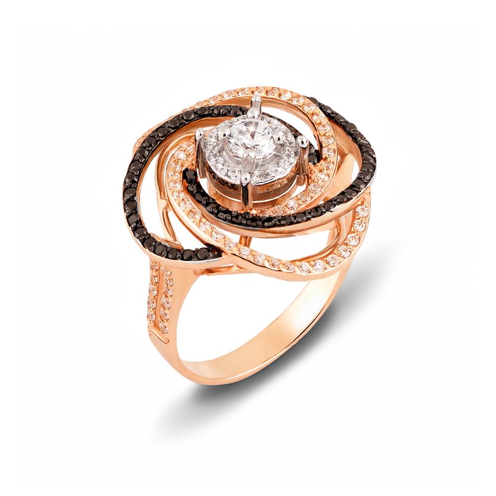 Золотое кольцо с фианитами. Артикул 12091/ч сп