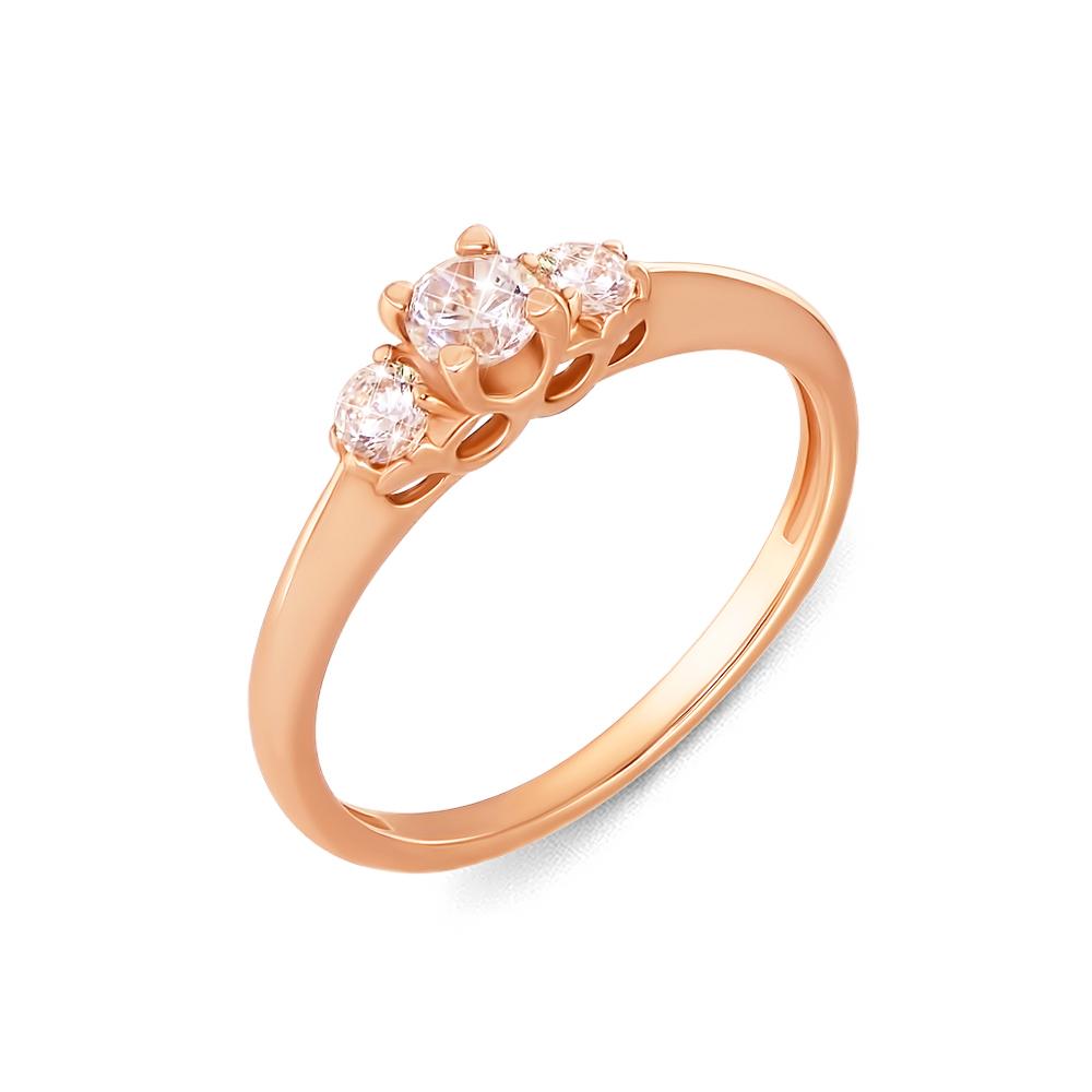 Золотое кольцо с фианитами. Артикул 12101 с