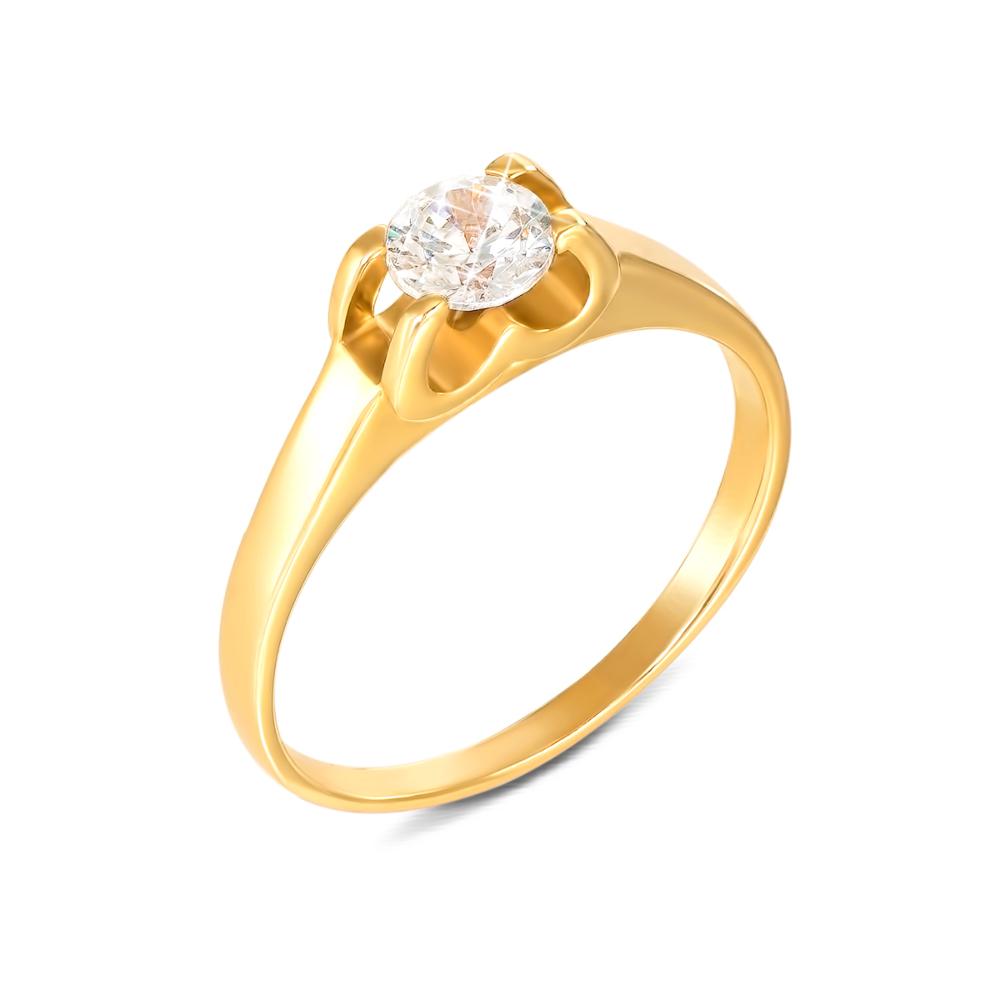 Золотое кольцо с фианитом. Артикул 12108/eu