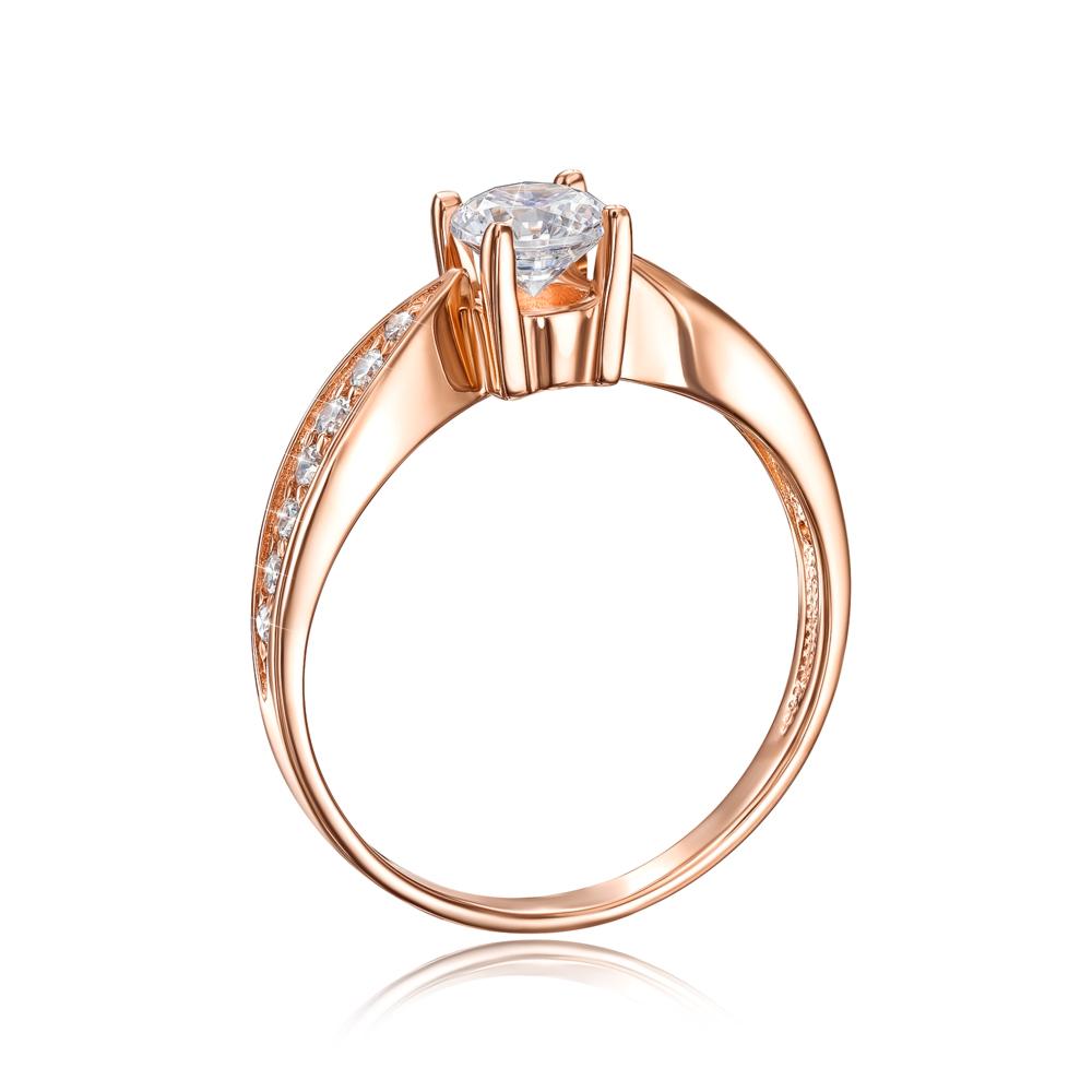 Золотое кольцо с фианитами. Артикул 12109 с