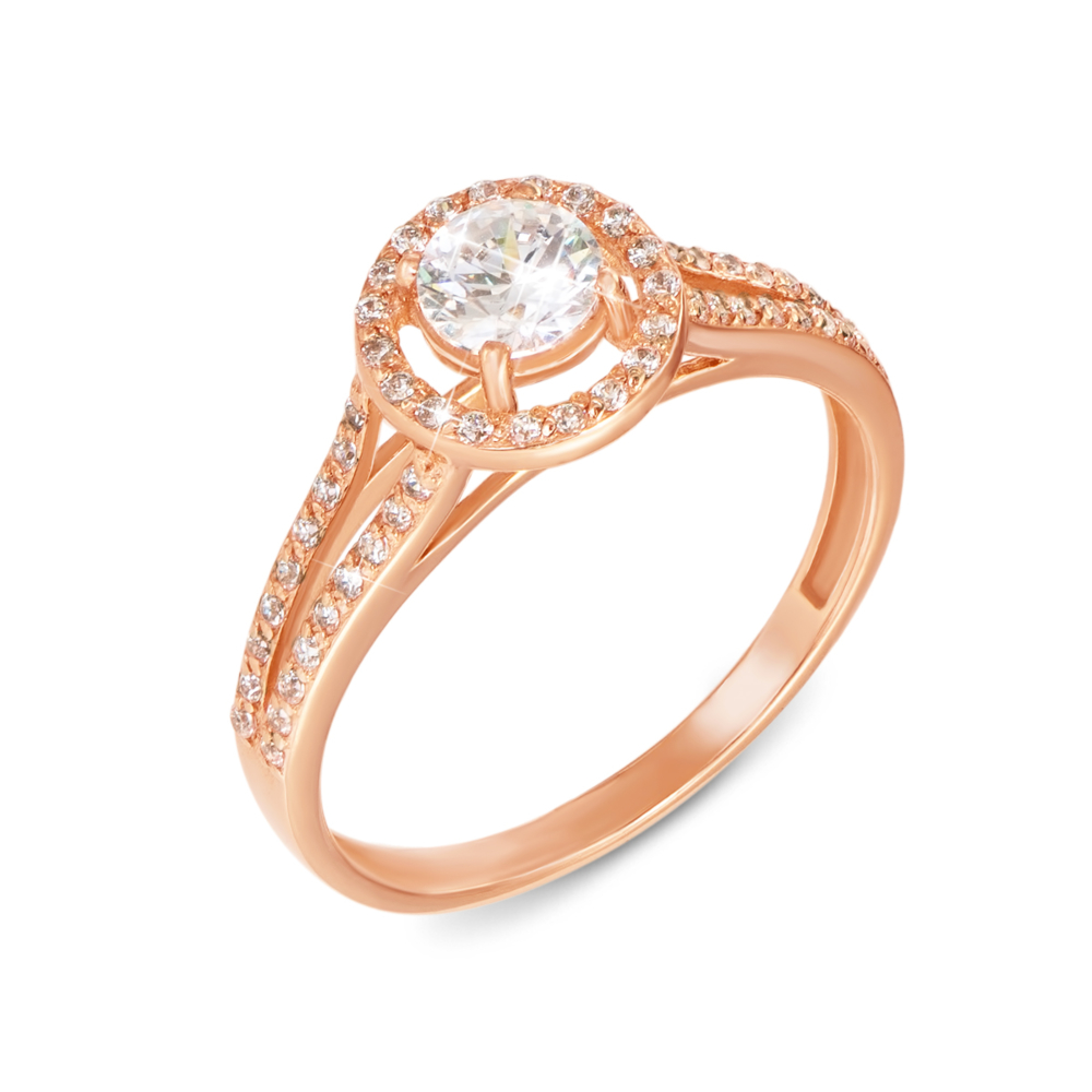 Золотое кольцо с фианитами. Артикул 12110