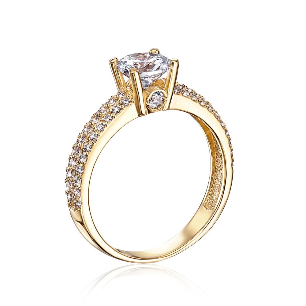 Золотое кольцо с фианитами. Артикул 12126/eu