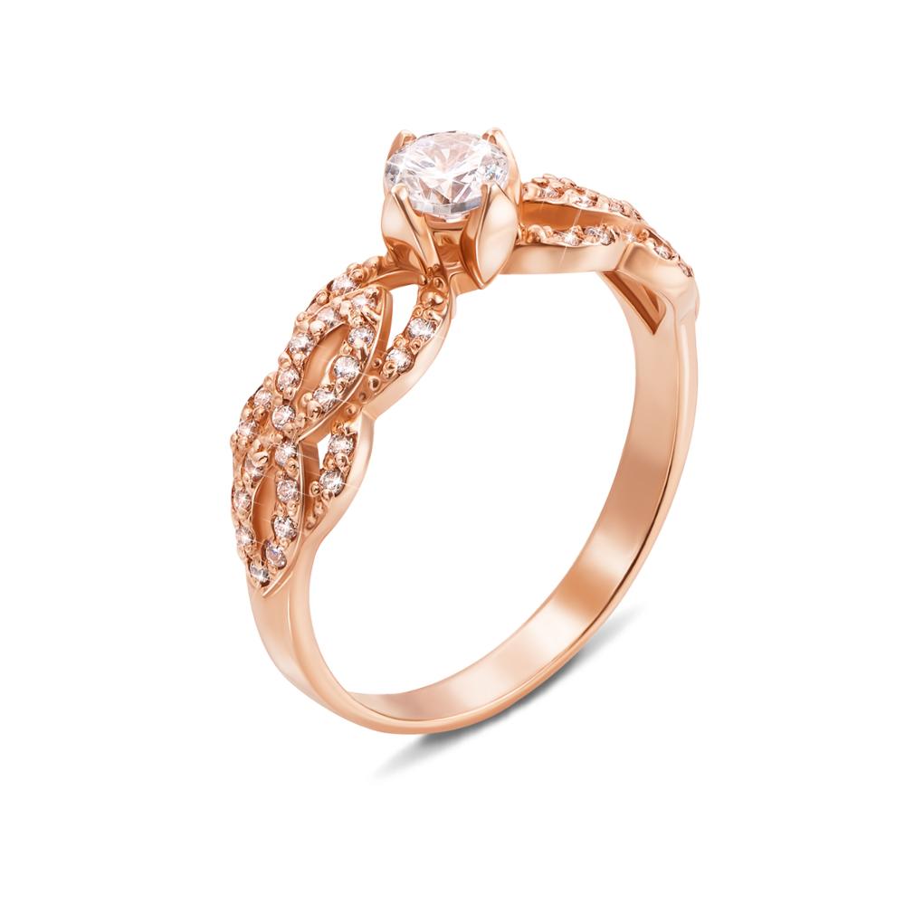 Золотое кольцо с фианитами. Артикул 12133 с