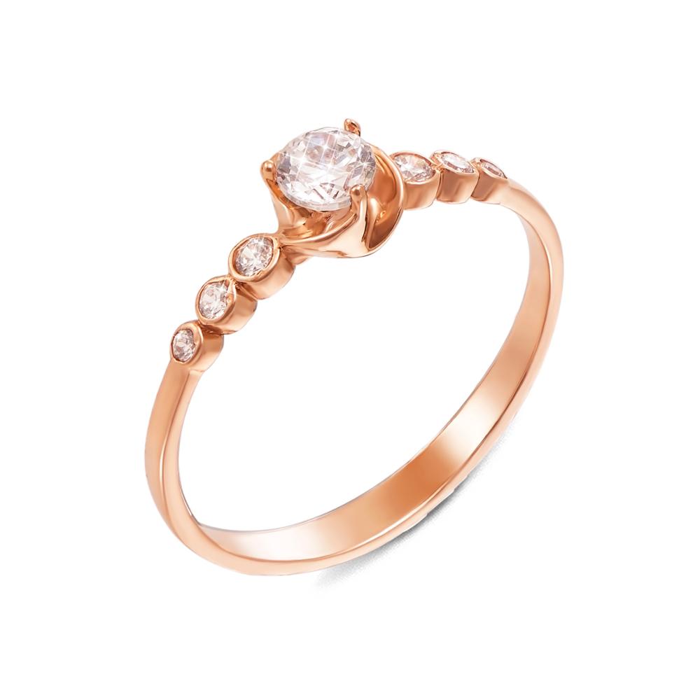 Золотое кольцо с фианитами. Артикул 12137