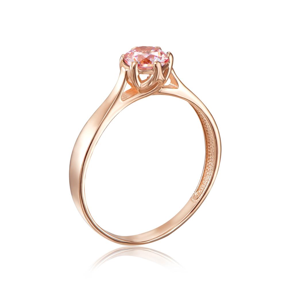 Золотое кольцо с фианитом Swarovski. Артикул 12138/01/0/1367