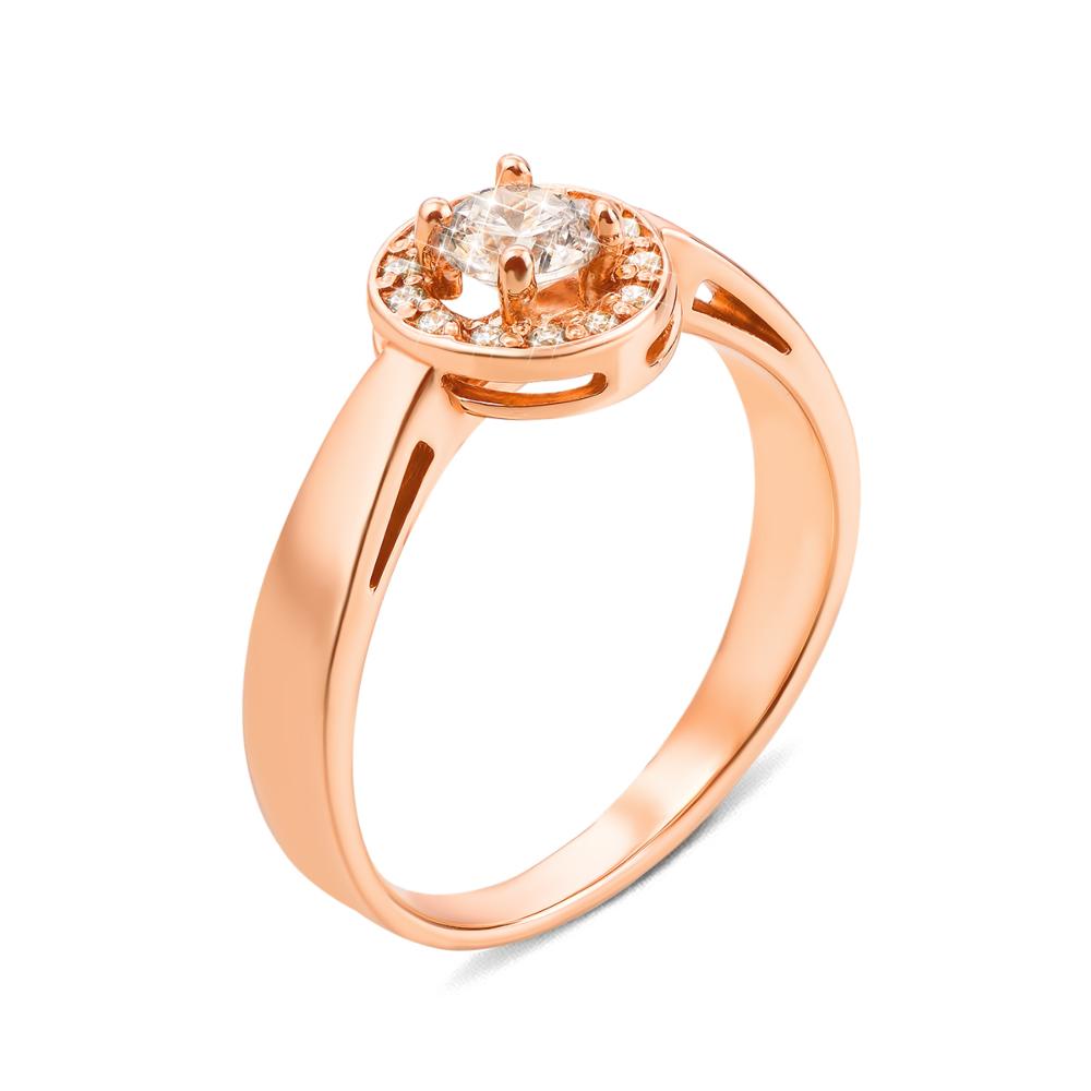 Золотое кольцо с фианитами. Артикул 12140 сп