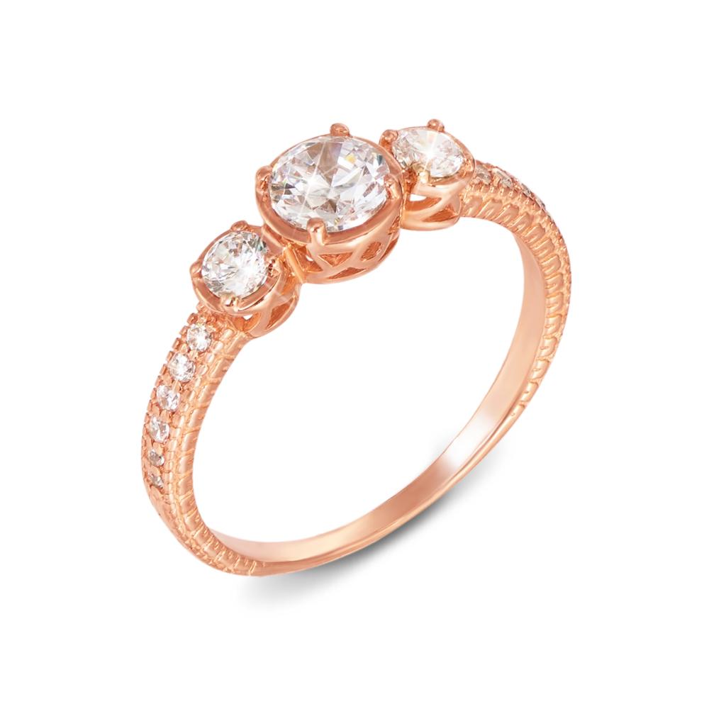 Золотое кольцо с фианитами. Артикул 12142
