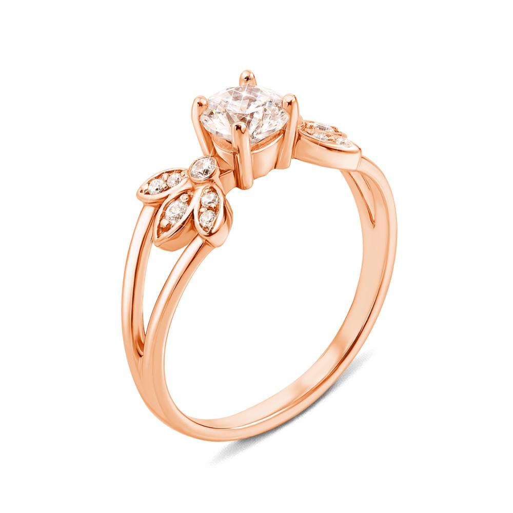 Золотое кольцо с фианитами. Артикул 12145 с